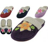 48 of Women's Velour Floral Embroidery Upper Close Toe House Slippers