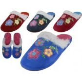 48 of Women's Satin Velour Floral Embroidery Upper Close Toe House Slippers