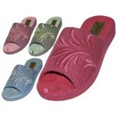 48 of Women's Satin Open Toes Floral Embroidery Upper House Slippers