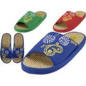 48 of Women Satin Open Toe Flower Embroidery Upper House Slippers
