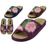 48 of Women's Satin Flower Embroidery Upper Open Toe House Slippers