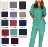36 of Unisex V Neck Scrub Tops Assorted Colors