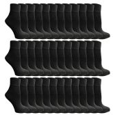 60 of Yacht & Smith Women's Premium Cotton Ankle Socks Black Size 9-11 BULK PACK