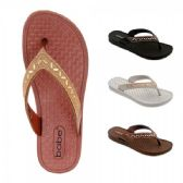 40 of Women Thong Sandal With Rhinestone And Bead Strap