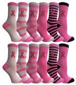 60 of Yacht & Smith Printed Breast Cancer Awareness Socks, Pink Ribbon Women Crew Socks