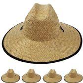 12 of Adults Large Black Brim Straw Hat
