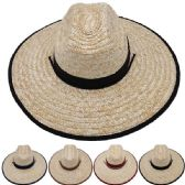 24 of Adults Large Black Brim Straw Hat