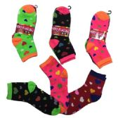 36 of Ladies Teens Quarter Socks Colorful Hearts
