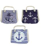 24 of Large Canvas Anchor Beach Bag w/ Rope Handles in 3 Assorted Prints