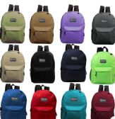 "24 of 17"" Kids Basic Backpacks in 8 Assorted Colors"