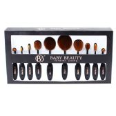 12 of 10 Piece Black Cosmetic Brush Set