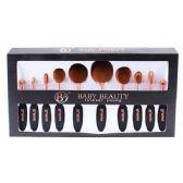 12 of 10 Piece Black Rose Gold Cosmetic Brush Set