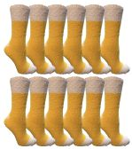 60 of Yacht & Smith Women's Fuzzy Snuggle Socks , Size 9-11 Comfort Socks Yellow With White Heel and Toe