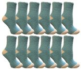 60 of Yacht & Smith Women's Fuzzy Snuggle Socks , Size 9-11 Comfort Socks Blue With White Heel and Toe
