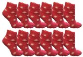 36 of Yacht & Smith Girls Fuzzy Snuggle Socks Pink Polka Dots Size 6-8