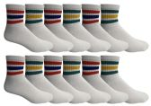 60 of Yacht & Smith Men's Cotton Sport Ankle Socks Size 10-13 With Stripes BULK PACK