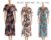 48 of Womens Long Feather Printed Summer Sun Dress