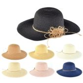 30 of Womens Paper Sun Hat With Flower Rope Assorted Color
