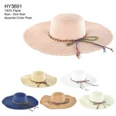 30 of Womens Paper Sun Hat With Colored Rope Assorted