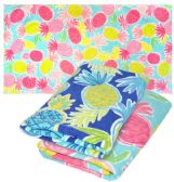 "12 of BEACH TOWEL PRINTED DESIGN 28 X 60"" PINEAPPLE DESIGN MAY VARY"