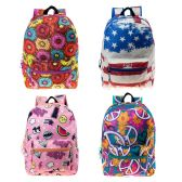 "24 of 17"" Kids Classic Padded Backpacks in 4 Assorted Unique Prints"