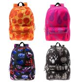 "24 of 17"" Kids Classic Padded Backpacks in 4 Assorted Unique Print"