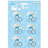 96 of Wooden Decoration Baby Blue Stroller