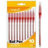 96 of Ten Count Stick Ballpoint Pens Red