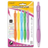 96 of Six Count Retractable Ballpoint Pen Assorted Color With Grip