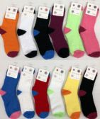 120 of Women Solid Color Fuzzy Socks Size 9-11