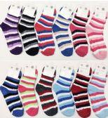 120 of Women Stripe Color Fuzzy Socks With Gripper Bottom Size 9-11