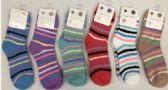 120 of Women Stripe Color Fuzzy Socks Size 9-11