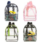 """24 of 17"""" Clear Backpack with 4 Assorted Trims"""