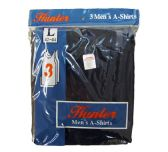 72 of Mens Cotton A Shirt Undershirt Solid Black Assorted Sizes