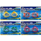 """48 of 5.5"""" SWIMMING GOGGLES ON BLISTER CARD, 4 ASSORTED DESIGNS"""