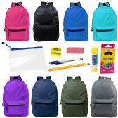 "24 of 17"" Backpacks with 12 Piece School Supply Kit - In 8 Assorted Color"