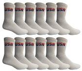 120 of Yacht & Smith Men's USA White Crew Socks Size 10-13