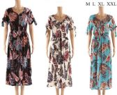 48 of Long Summer Dresses with leaf Prints Assorted