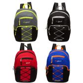 """24 of 17"""" Classic Bungee Backpack in 4 Assorted Colors with side Mesh Water Bottle Pockets"""