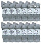 12 of Yacht & Smith Wholesale Bulk Womens Crew Socks, Cotton Sport Athletic Socks - Gray - 12 Packs