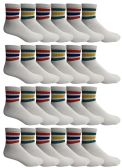 24 of Yacht & Smith Men's King Size Premium Cotton Sport Ankle Socks Size 13-16 With Stripes