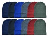 24 of Yacht & Smith Kids Winter Beanie Hat Assorted Colors Bulk Pack Warm Acrylic Cap