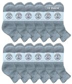 12 of Yacht & Smith Wholesale Bulk Womens Mid Ankle Socks, Cotton Sport Athletic Socks - Gray - 12 Packs