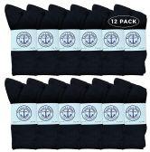 12 of Yacht & Smith Wholesale Bulk Womens Crew Socks, Cotton Sport Athletic Socks - Black - 12 Packs