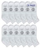 12 of Yacht & Smith Men's King Size Premium Cotton Sport Ankle Socks Size 13-16 Solid White