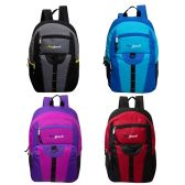 "24 of 17"" Daisy Chain Bulk Backpacks in 4 Assorted Colors with side Mesh Water Bottle Pockets"