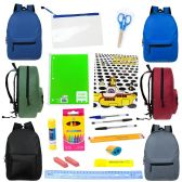 "24 of 17"" Backpacks with 20 Piece School Supply Kit"