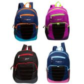 "24 of 17"" Loop Bulk Backpacks in 4 Assorted Colors with side Mesh Water Bottle Pockets"