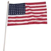 144 of 12 x 18 Inch Nylon USA American Flag On 24 Inch Stick