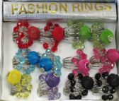 36 of Silver tone ring with two different colored dangle accent beads and a mesh colored ball